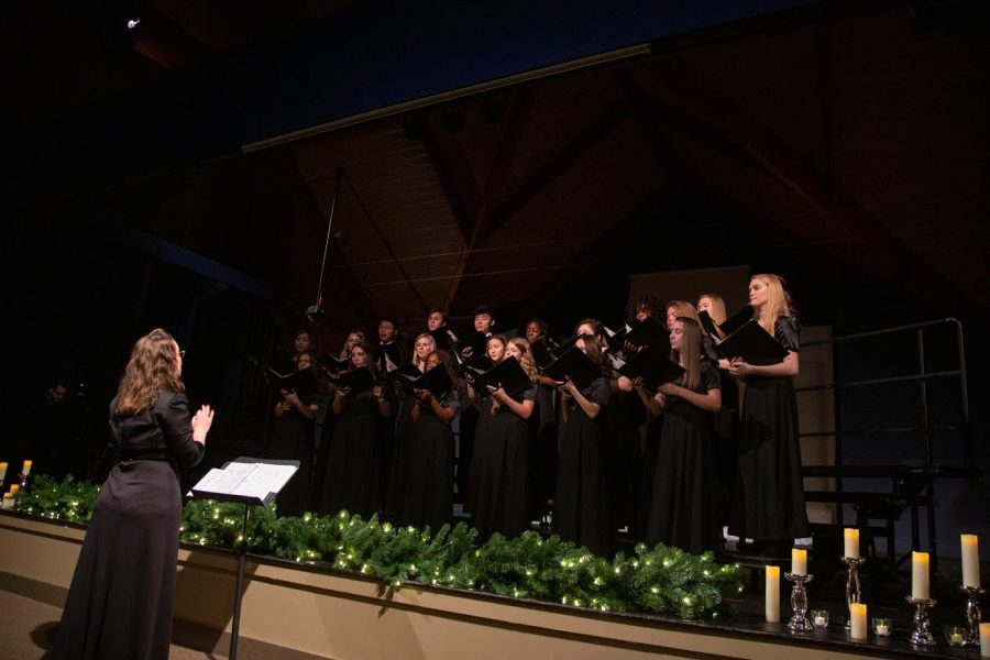 The 2019-2020 Upper School chorus at their 2019 Lessons and Carols performance