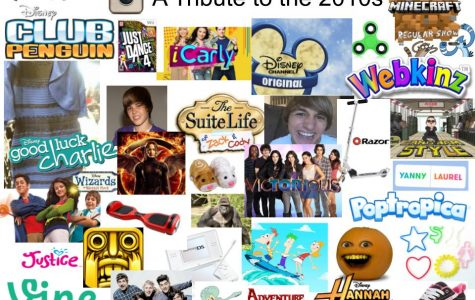 A collage of various iconic images from the 2010's