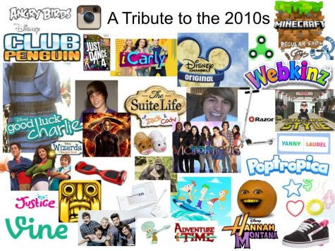 A collage of various iconic images from the 2010