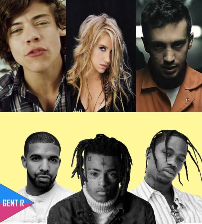Collage featuring Harry Styles(top left), Ke$ha(top mid), Tyler Joseph(TØP right),Drake(bottom left), XXXTentacion(bottom mid), and lil yachty( bottom left)