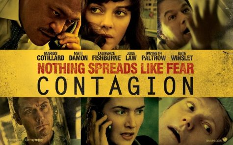 "Movie Poster promoting the movie ""Contagion"" featuring Laurence Fishburne(top left), Marion Cotillard(top middle), Matt Damon( top right), Jude Law(bottom left), Kate Winslet(bottom middle), and Gwyneth Paltrow(bottom right)"