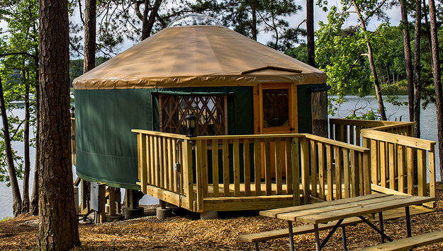 A yurt rental on Stone Mountain (Image sourced from Stone Mountain Park)