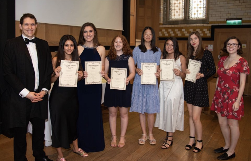 Valentina Gauld (middle) at a summer program at the University of Cambridge